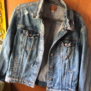American Eagle denim destroyed style jacket size L